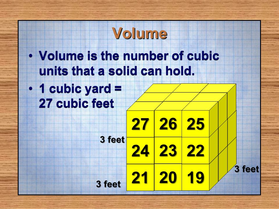 Volume Volume is the number of cubic units that a solid can hold. 1 cubic yard = 27 cubic feet.