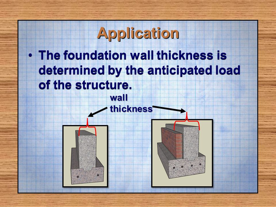 Application The foundation wall thickness is determined by the anticipated load of the structure. wall.