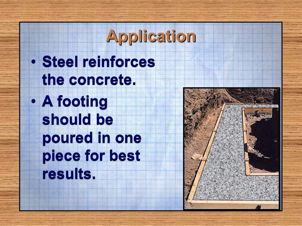 Application Steel reinforces the concrete.