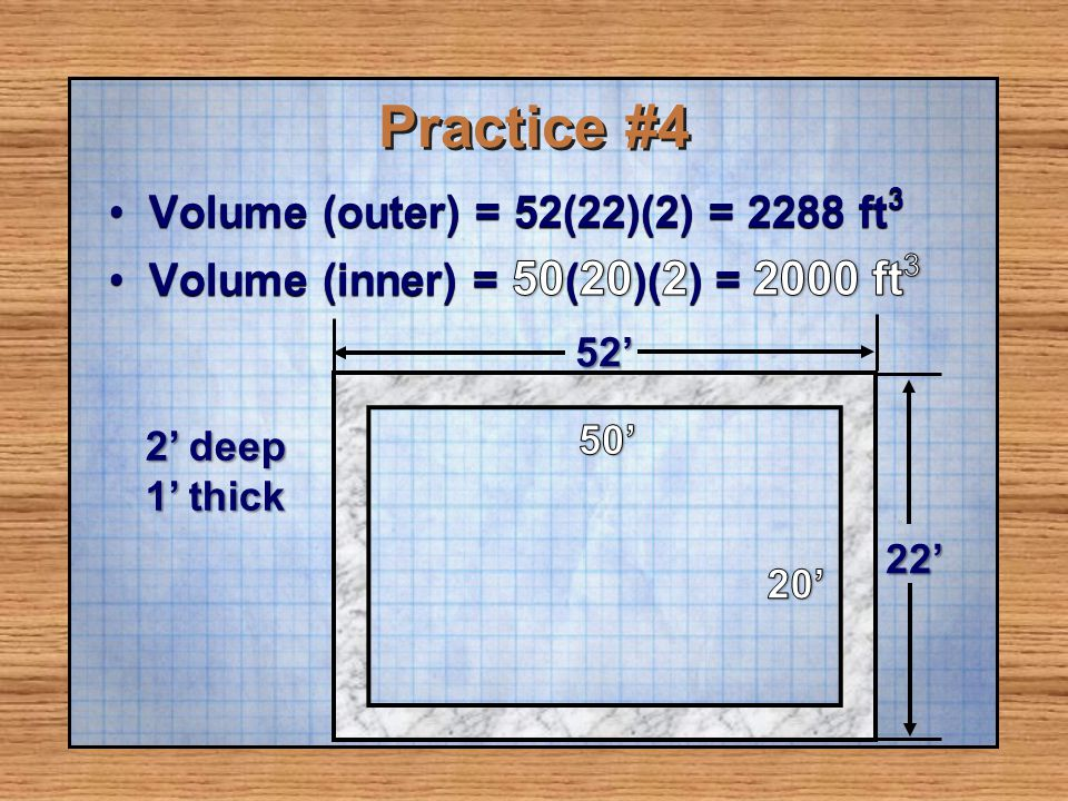 Practice #4 Volume (outer) = 52(22)(2) = 2288 ft3