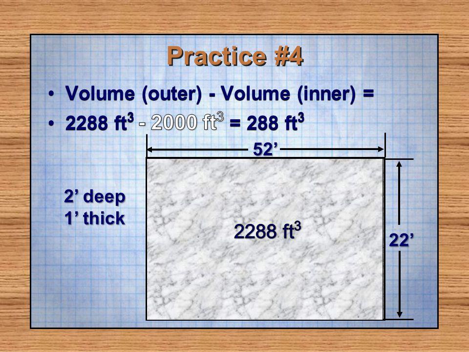 Practice #4 Volume (outer) - Volume (inner) =