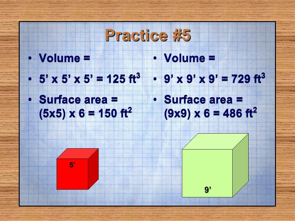 Practice #5 Volume = 5' x 5' x 5' = 125 ft3