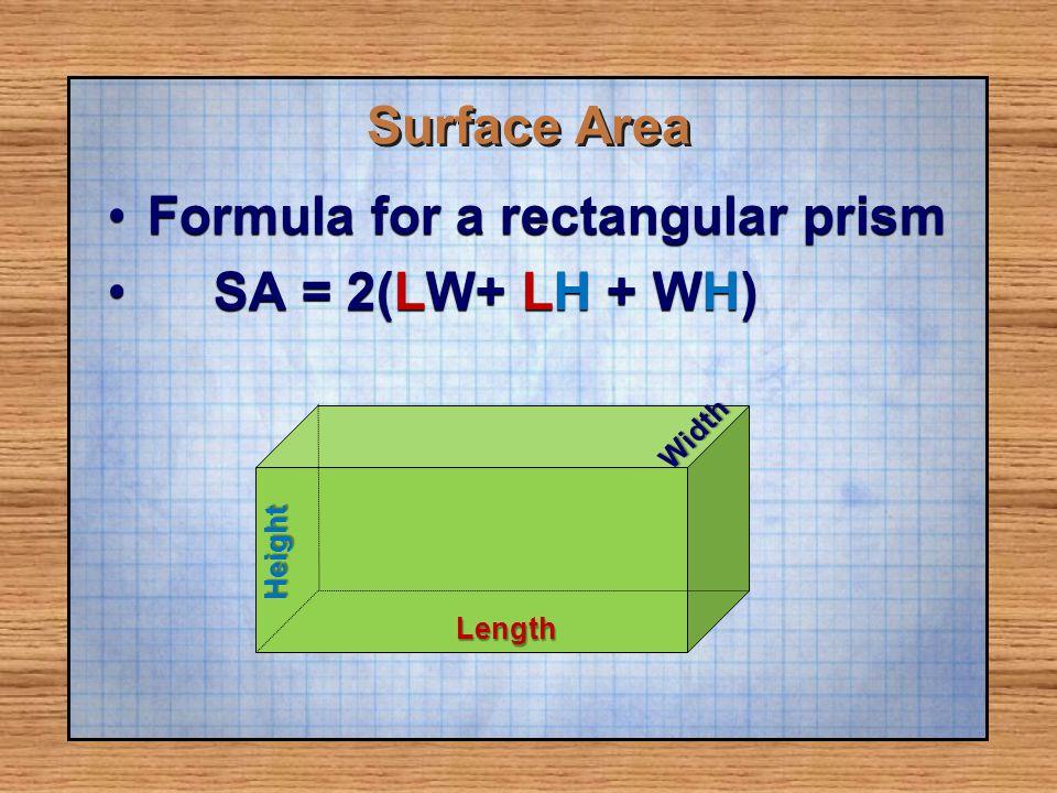 Formula for a rectangular prism SA = 2(LW+ LH + WH)