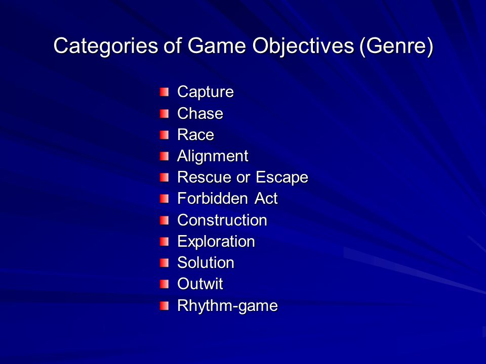 Categories of Game Objectives (Genre)