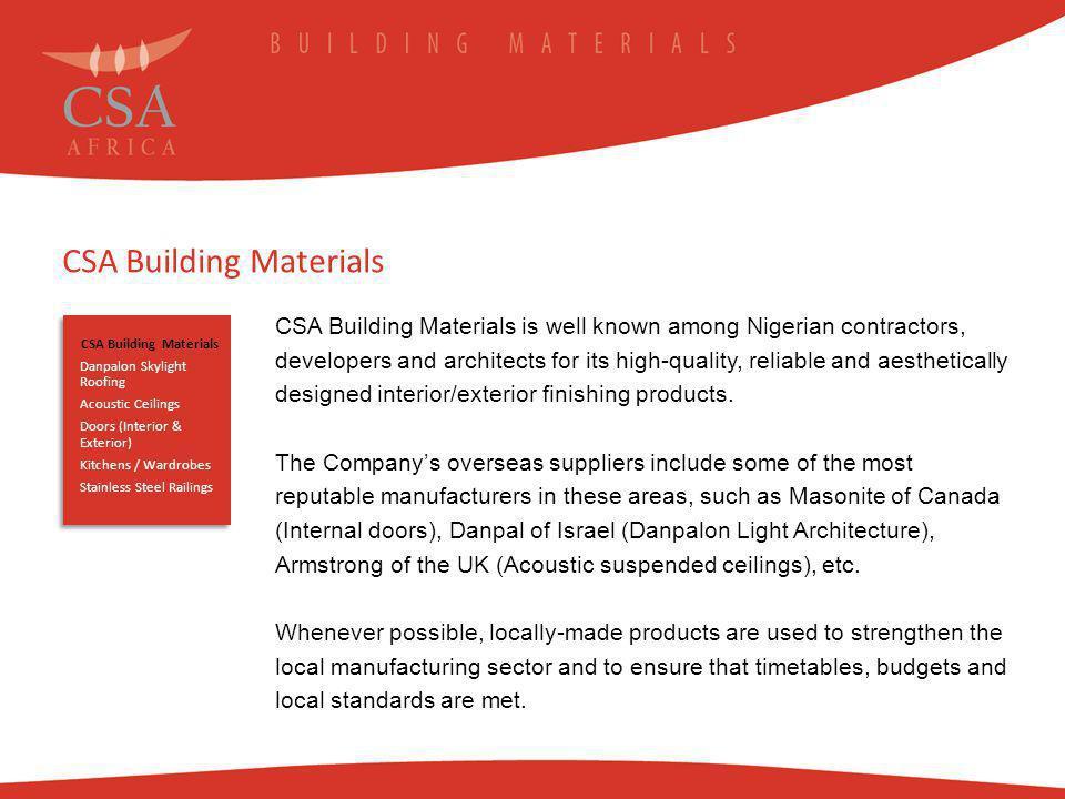 CSA Building Materials