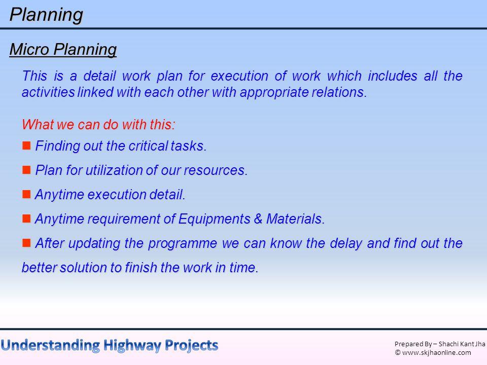 Planning Micro Planning