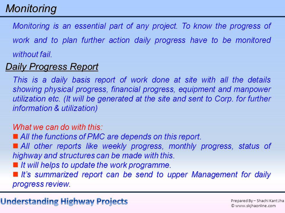 Monitoring Daily Progress Report