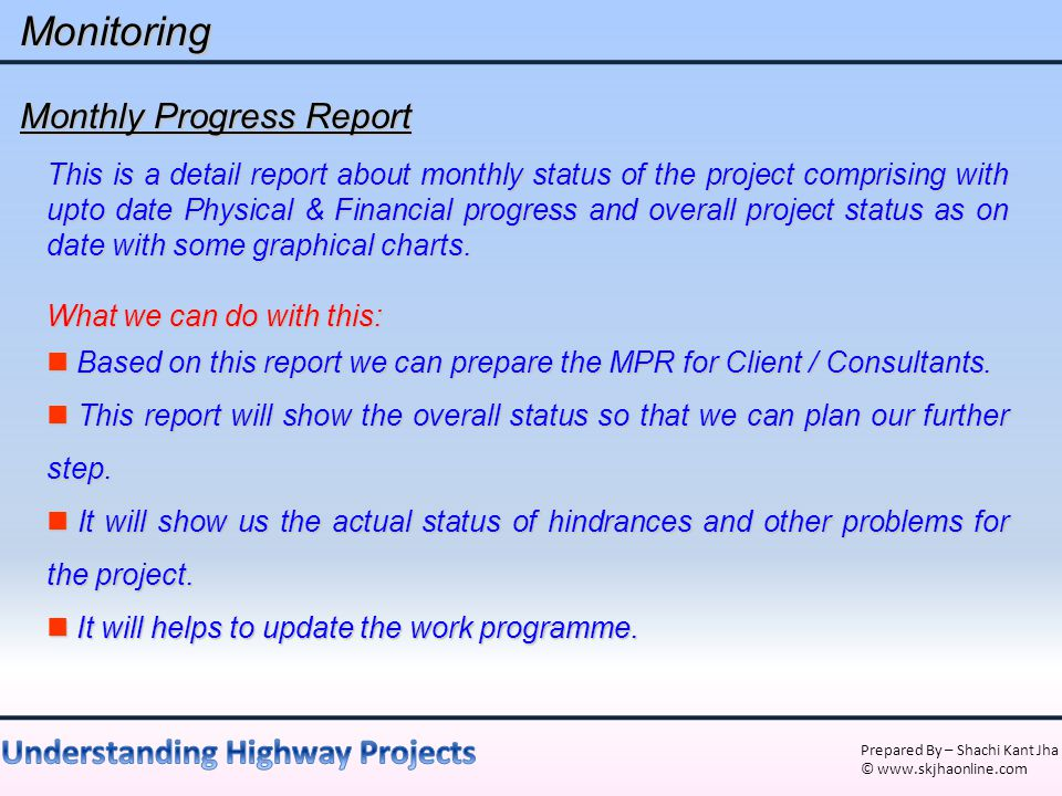 Monitoring Monthly Progress Report
