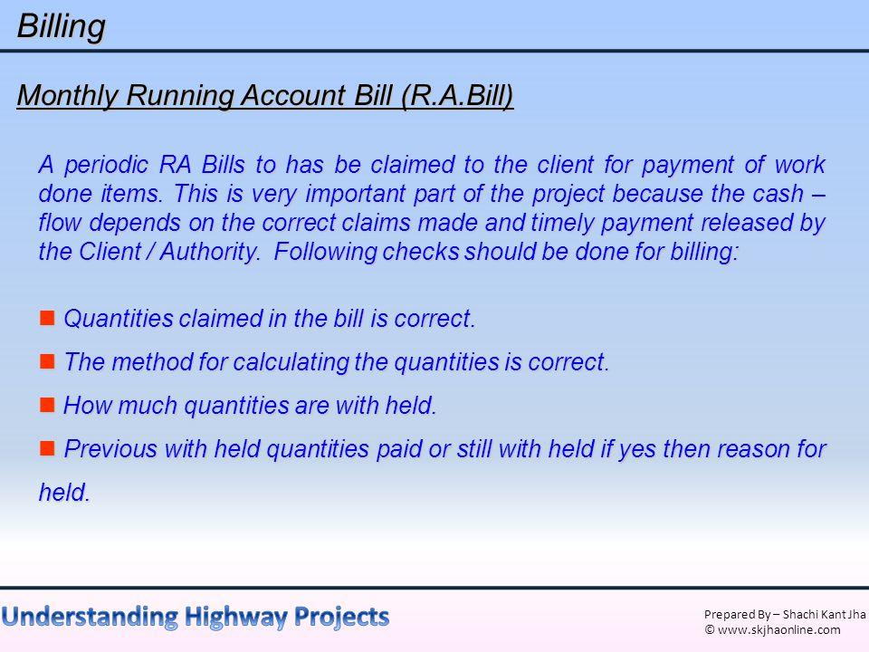 Billing Monthly Running Account Bill (R.A.Bill)