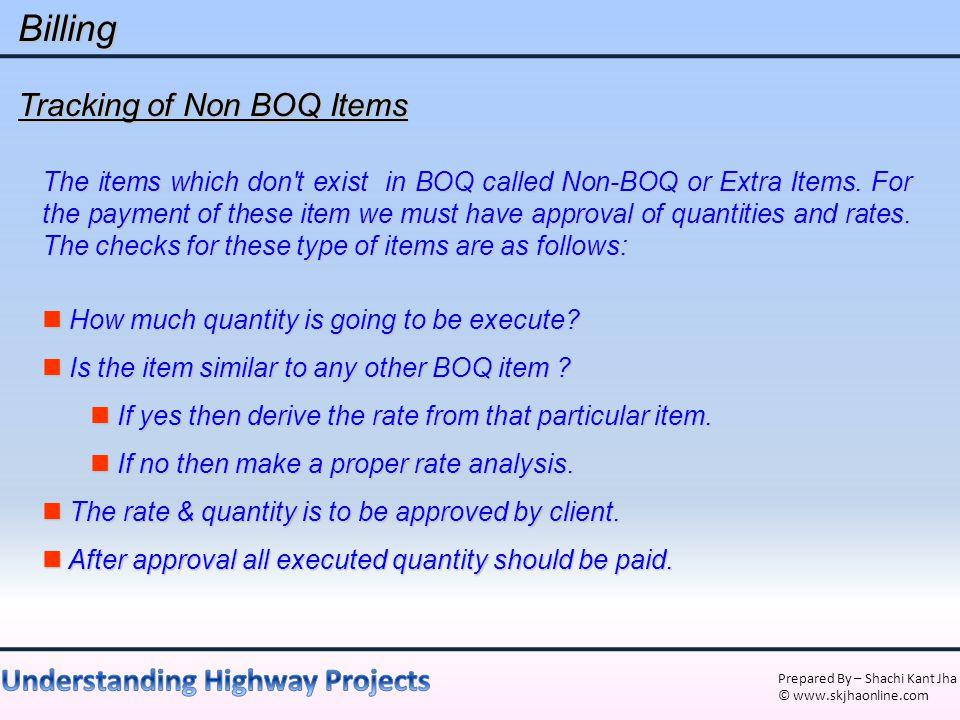 Billing Tracking of Non BOQ Items