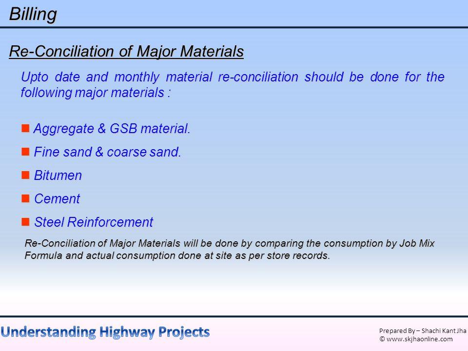 Billing Re-Conciliation of Major Materials