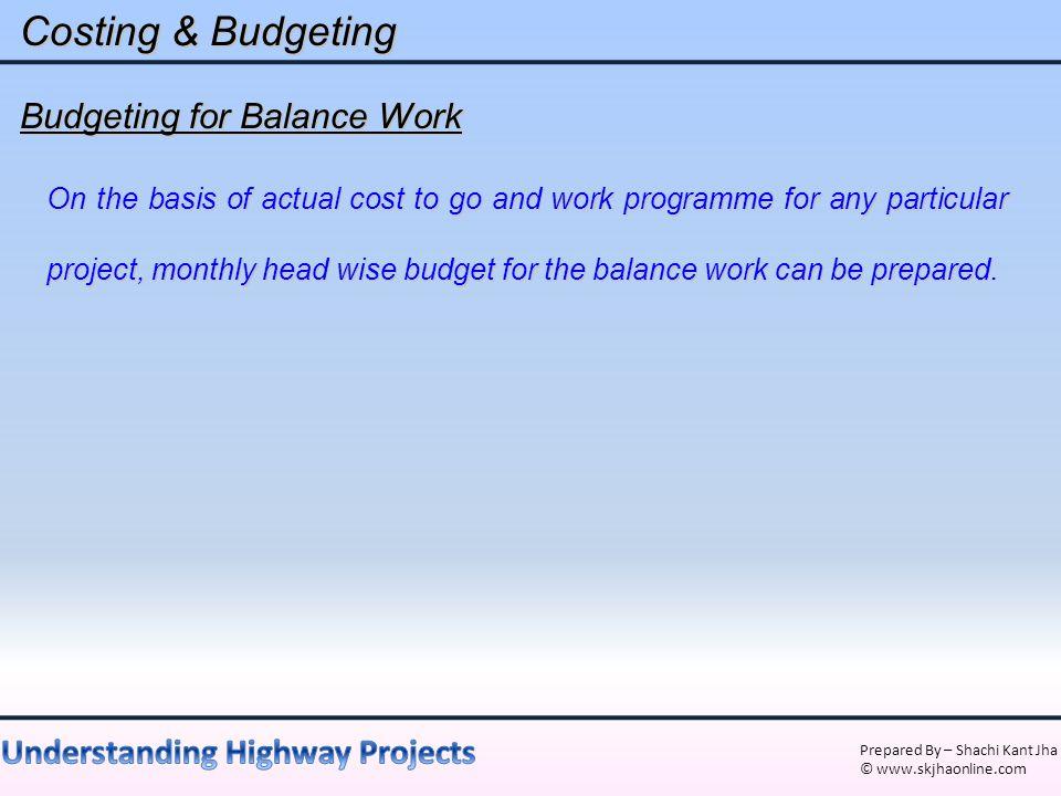 Costing & Budgeting Budgeting for Balance Work