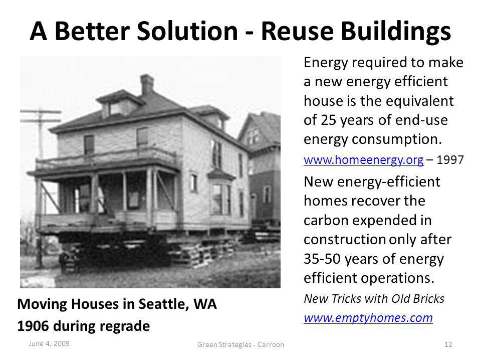 A Better Solution - Reuse Buildings