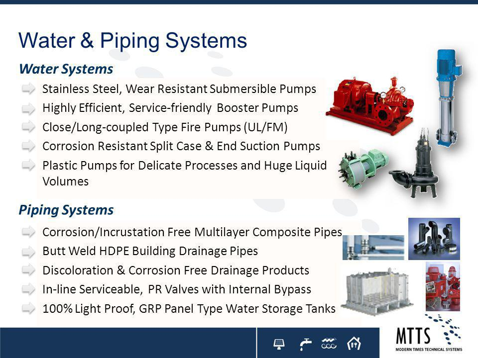 Water & Piping Systems Water Systems Piping Systems