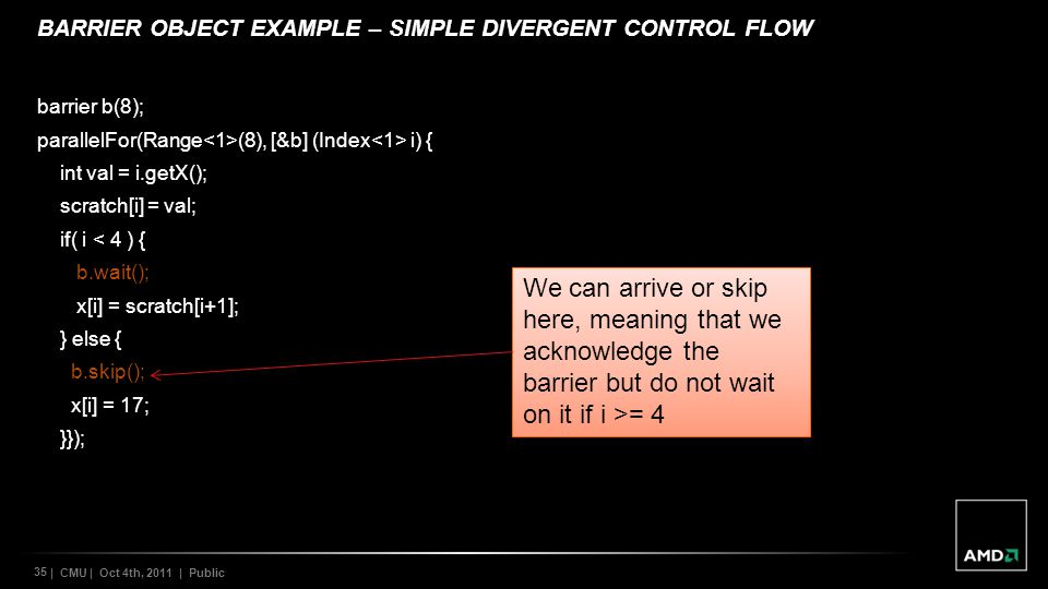 BARRIER OBJECT EXAMPLE – Simple Divergent control flow