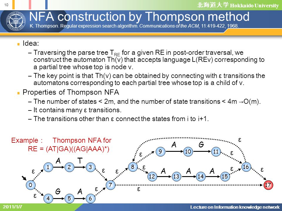 NFA construction by Thompson method