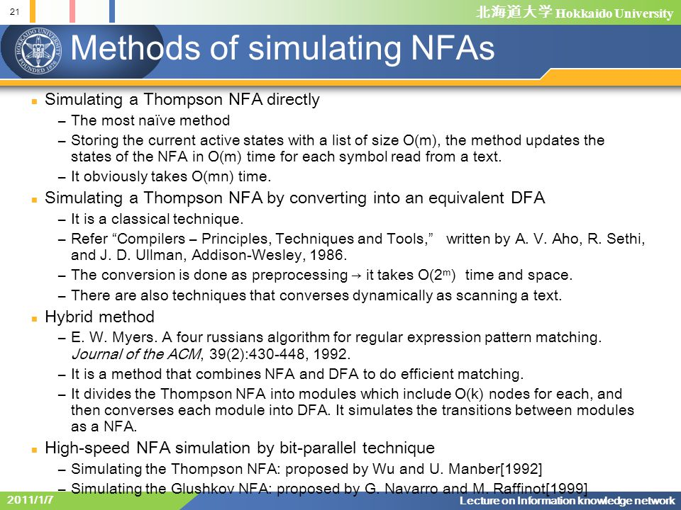 Methods of simulating NFAs
