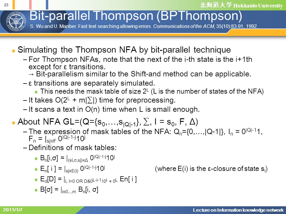 Bit-parallel Thompson (BPThompson)
