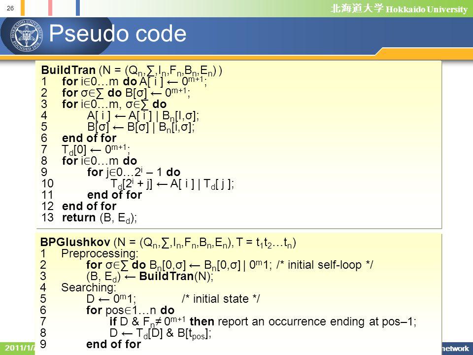 Pseudo code BuildTran (N = (Qn,∑,In,Fn,Bn,En) )