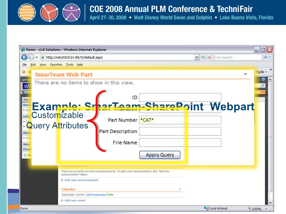 Example: SmarTeam-SharePoint Webpart
