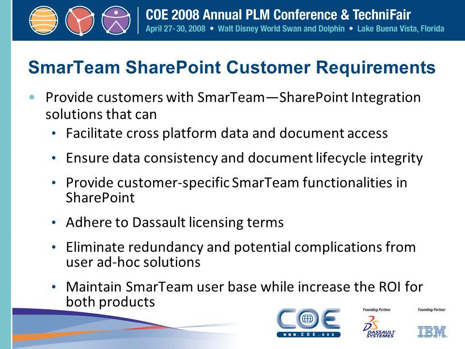 SmarTeam SharePoint Customer Requirements