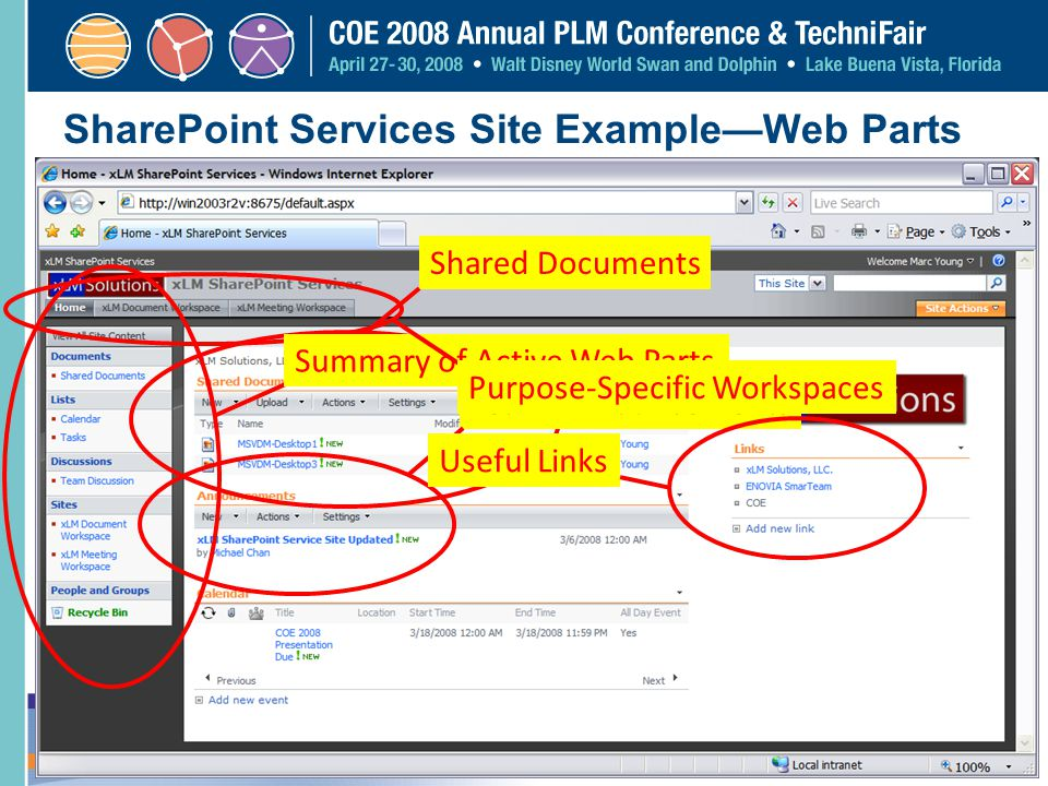 SharePoint Services Site Example—Web Parts