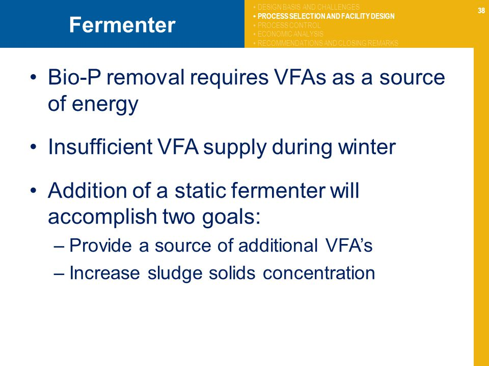 Bio-P removal requires VFAs as a source of energy