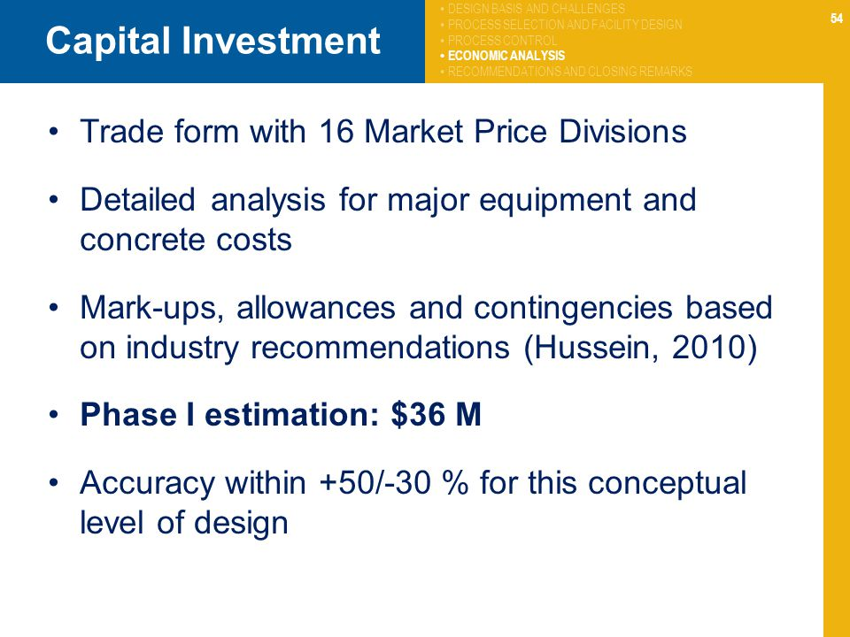 Capital Investment Trade form with 16 Market Price Divisions