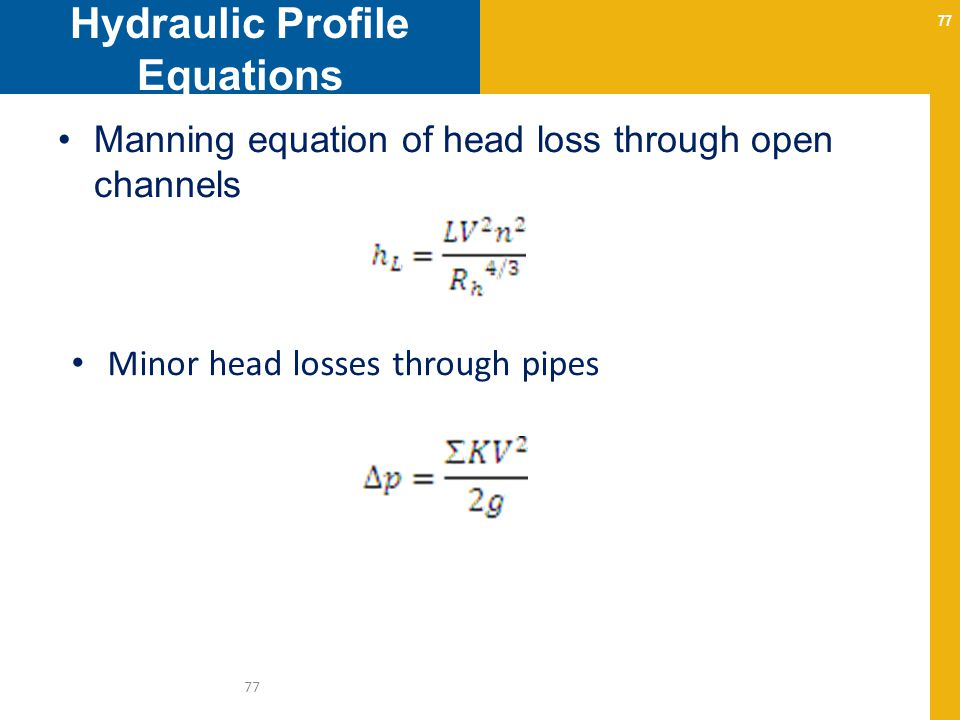 Hydraulic Profile Equations