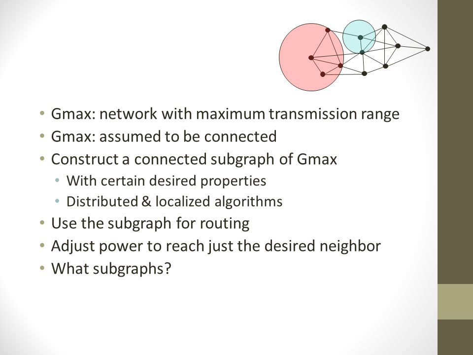 Gmax: network with maximum transmission range