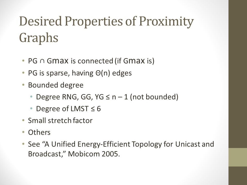 Desired Properties of Proximity Graphs