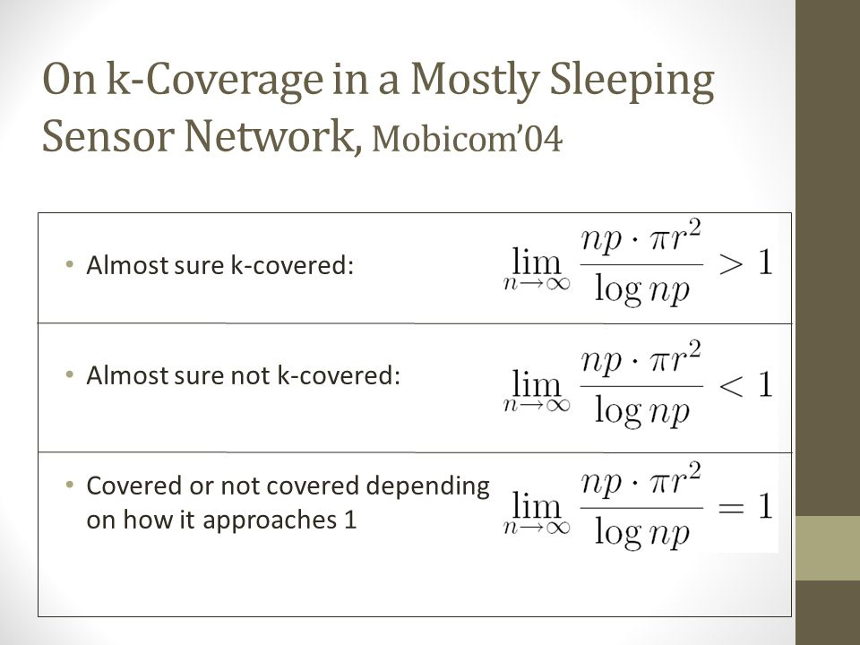 On k­-Coverage in a Mostly Sleeping Sensor Network, Mobicom'04