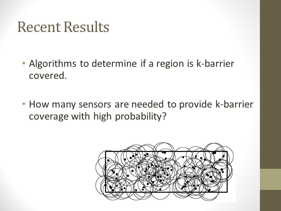 Recent Results Algorithms to determine if a region is k-barrier covered.