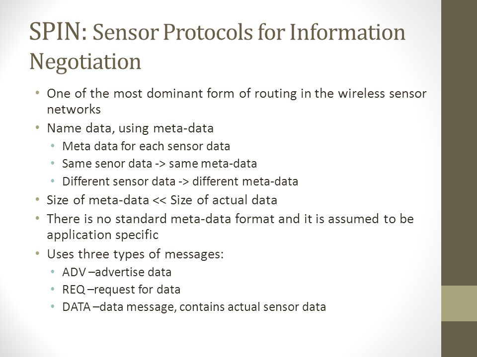 SPIN: Sensor Protocols for Information Negotiation