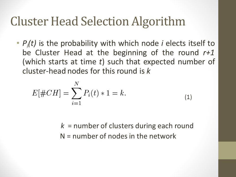 Cluster Head Selection Algorithm