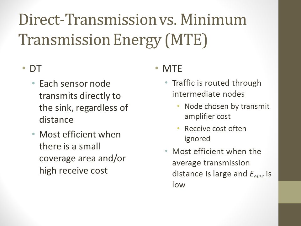 Direct-Transmission vs. Minimum Transmission Energy (MTE)