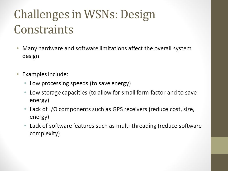 Challenges in WSNs: Design Constraints
