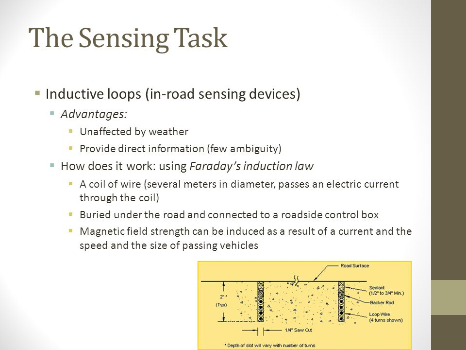 The Sensing Task Inductive loops (in-road sensing devices) Advantages: