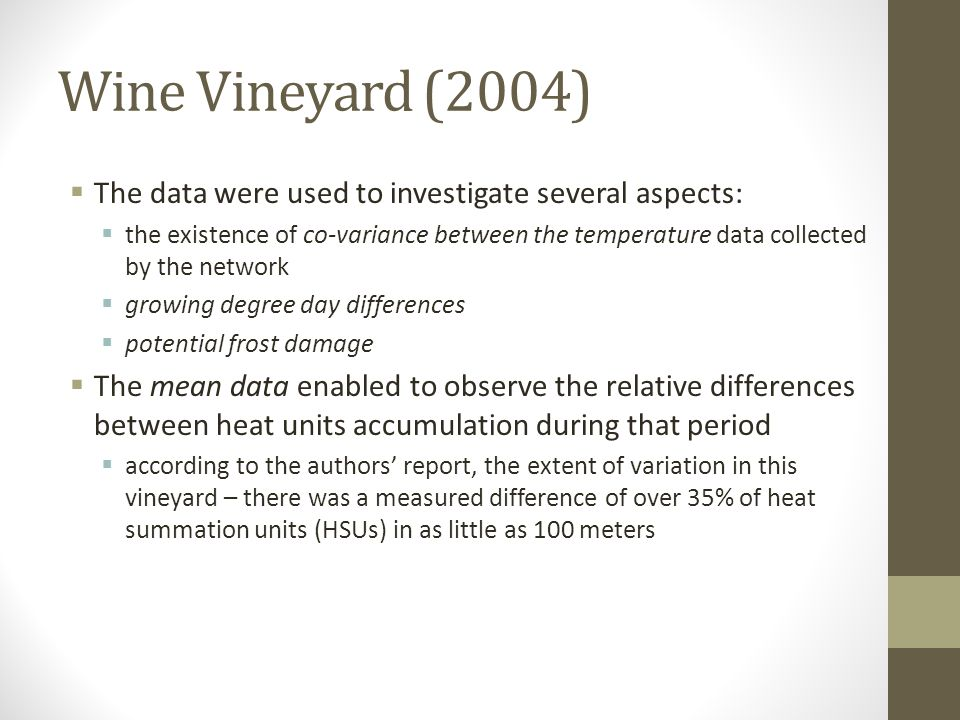Wine Vineyard (2004) The data were used to investigate several aspects: