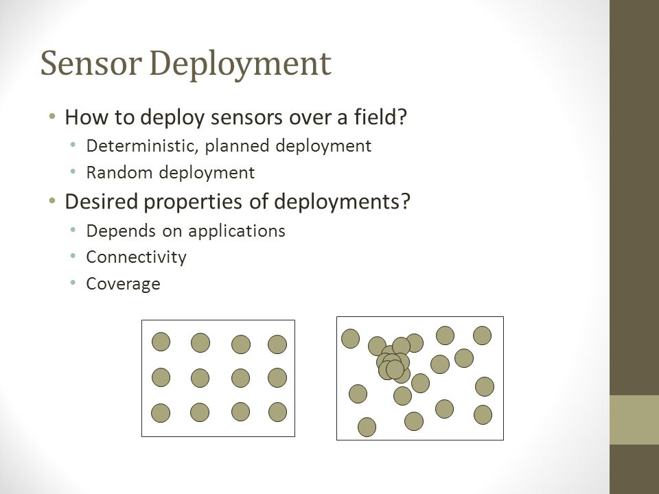 Sensor Deployment How to deploy sensors over a field