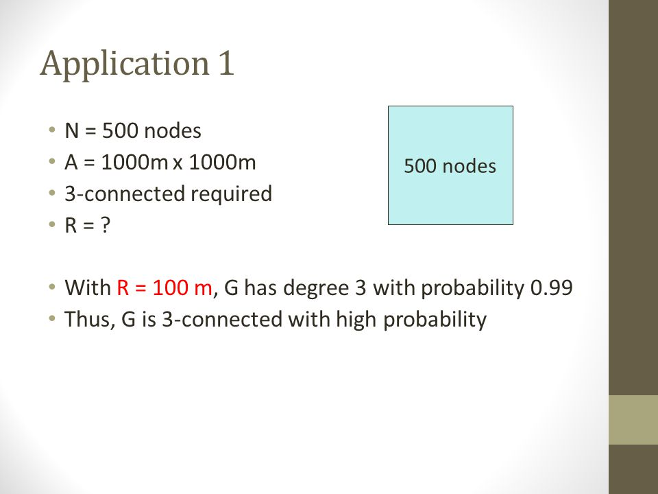 Application 1 N = 500 nodes A = 1000m x 1000m 3-connected required