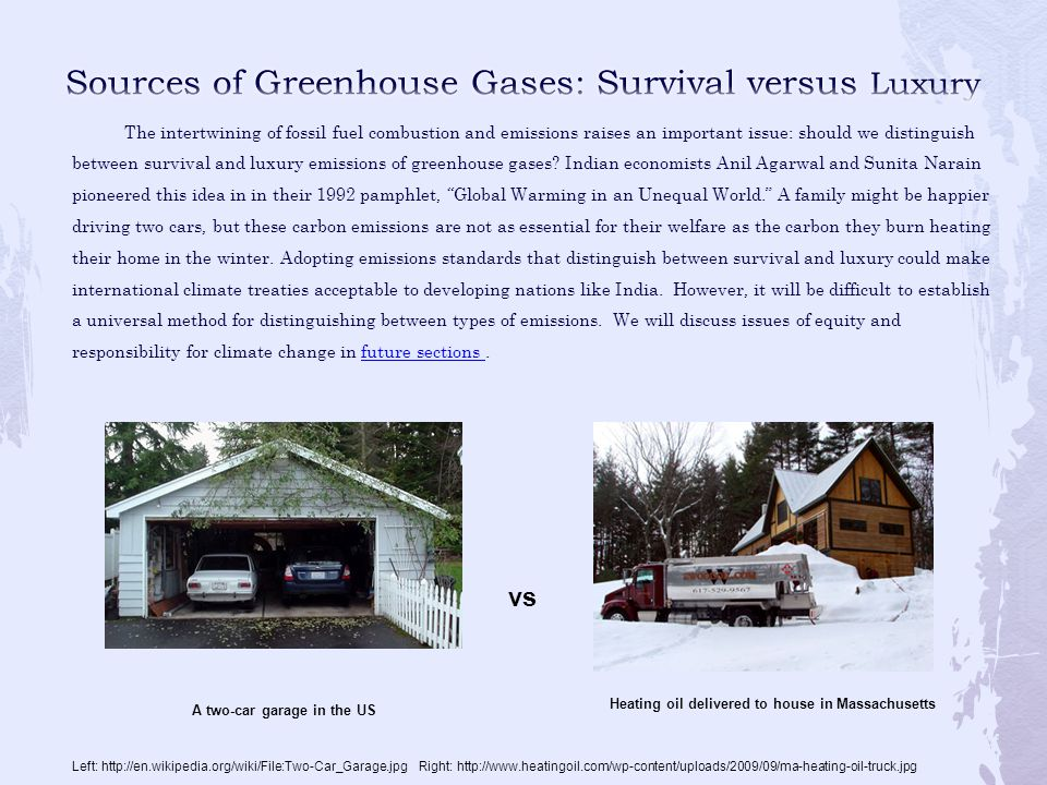 Sources of Greenhouse Gases: Survival versus Luxury