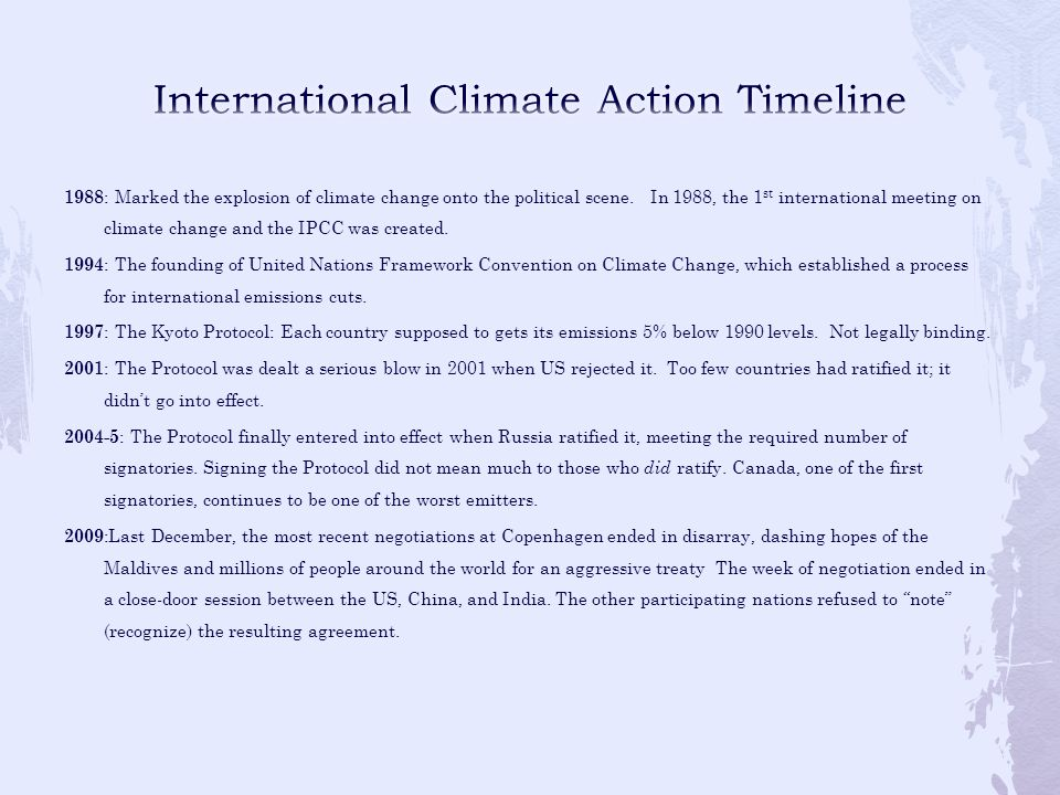 International Climate Action Timeline