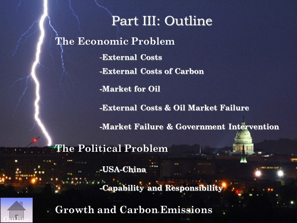 Part III: Outline The Economic Problem -External Costs -External Costs of Carbon. -Market for Oil -External Costs & Oil Market Failure.