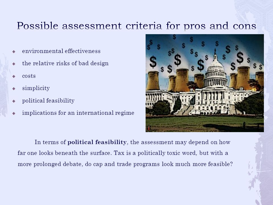 Possible assessment criteria for pros and cons