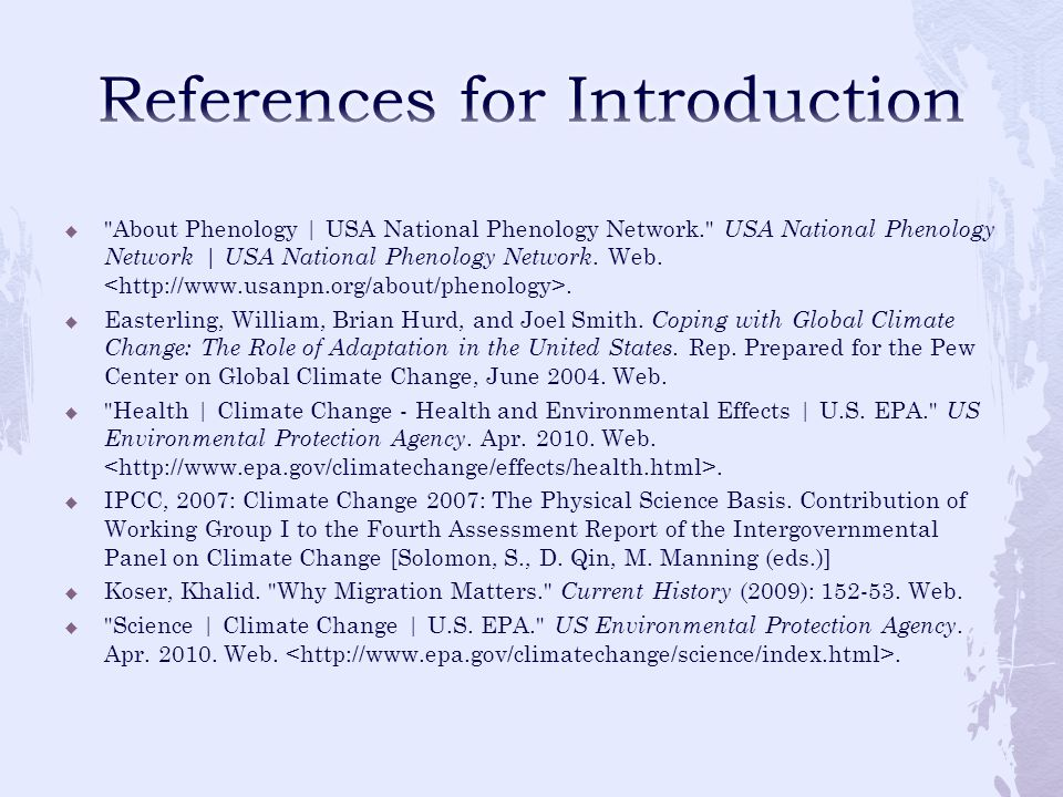 References for Introduction