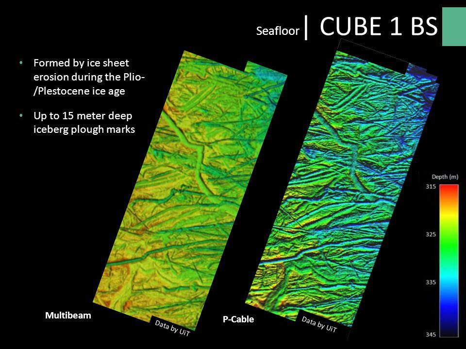 Seafloor| CUBE 1 BS Formed by ice sheet erosion during the Plio- /Plestocene ice age. Up to 15 meter deep iceberg plough marks.