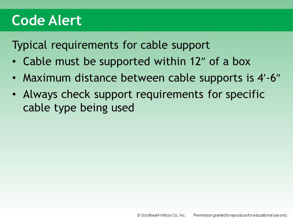 Code Alert Typical requirements for cable support