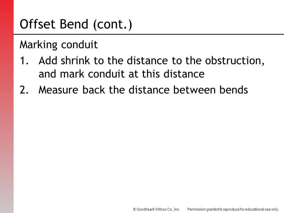 Offset Bend (cont.) Marking conduit