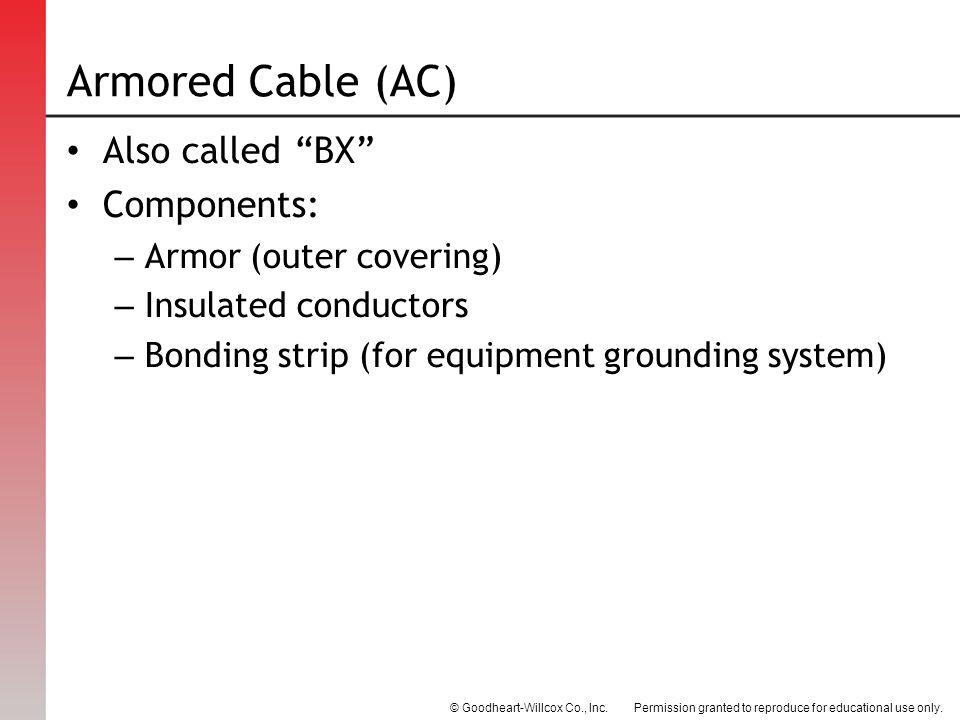 Armored Cable (AC) Also called BX Components: Armor (outer covering)